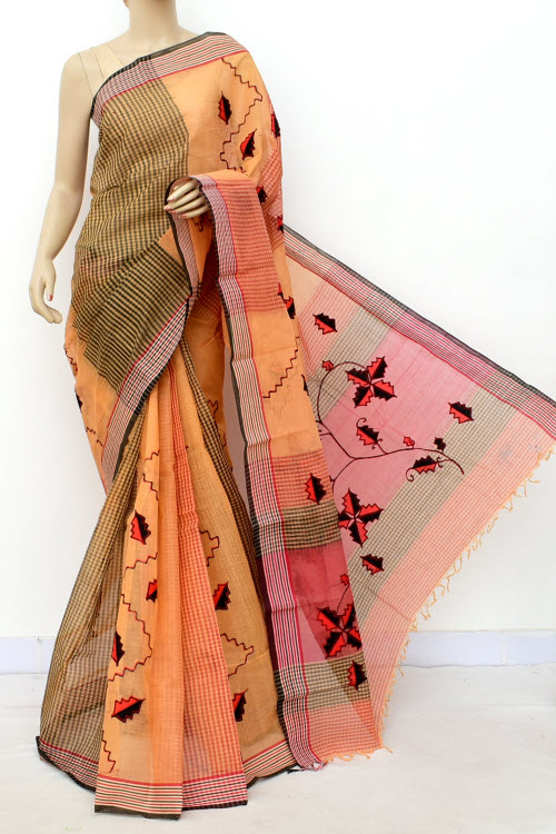 Applique Handwoven Bengal Handloom Cotton Saree (Without Blouse) 17815