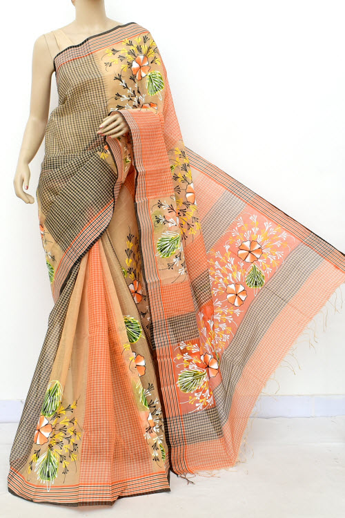 Hand Painted Handwoven Bengal Handloom Cotton Saree (Without Blouse) 17817