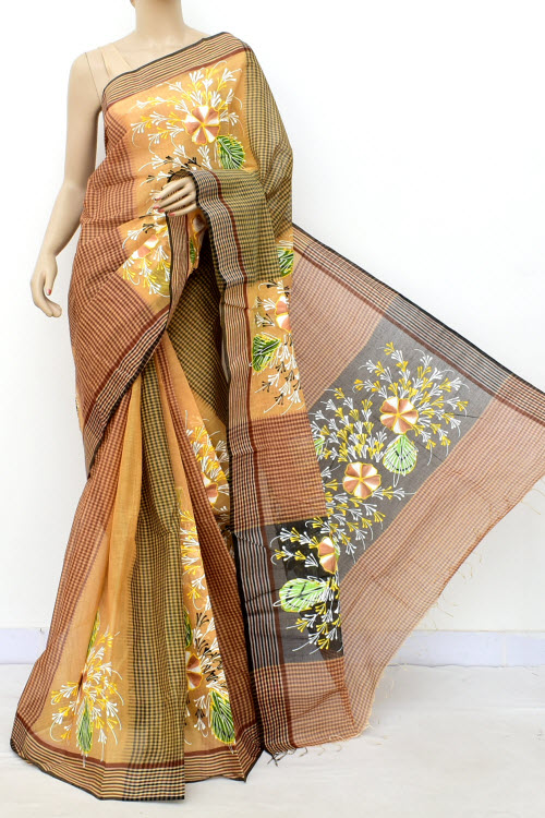 Hand Painted Handwoven Bengal Handloom Cotton Saree (Without Blouse) 17818