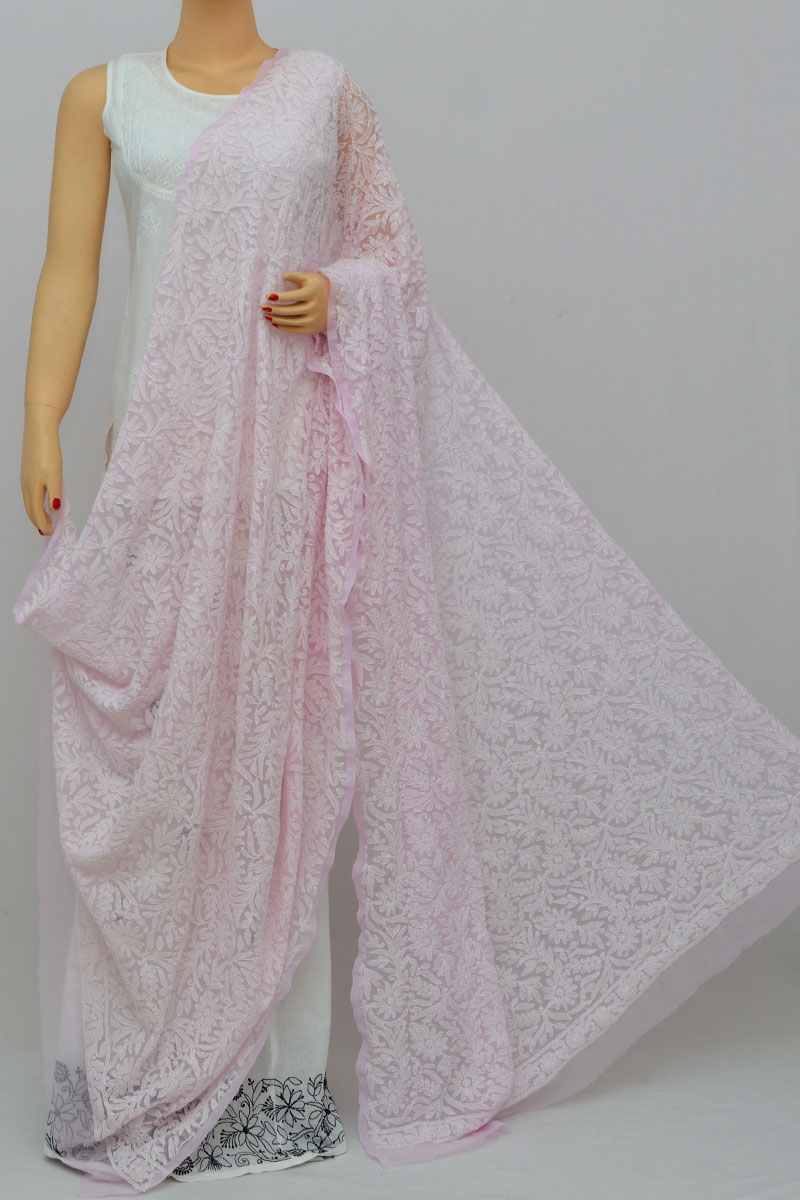 Baby Pink Allover Hand Embroidered Lucknowi Chikankari Dupatta (georgette) My250250