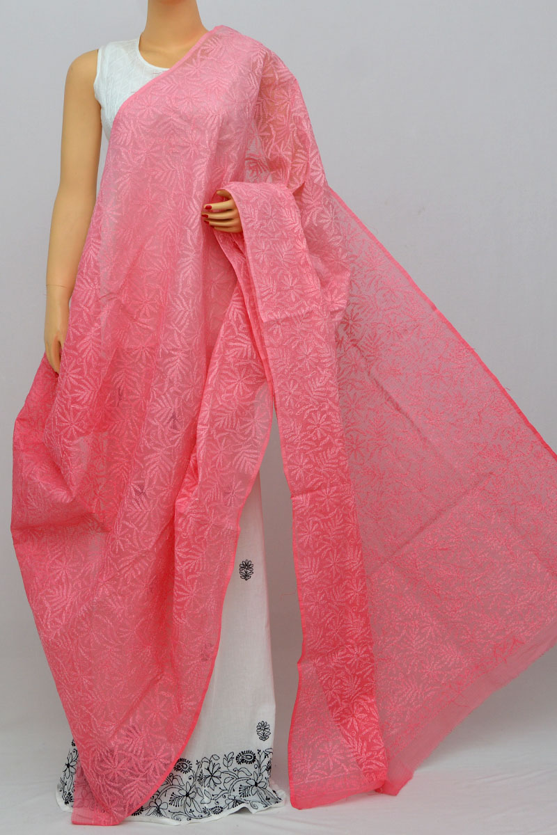 Punch Pink Shaded Allover Tepchi Hand Embroidered Lucknowi Chikankari Dupatta (kota Cotton) My250253