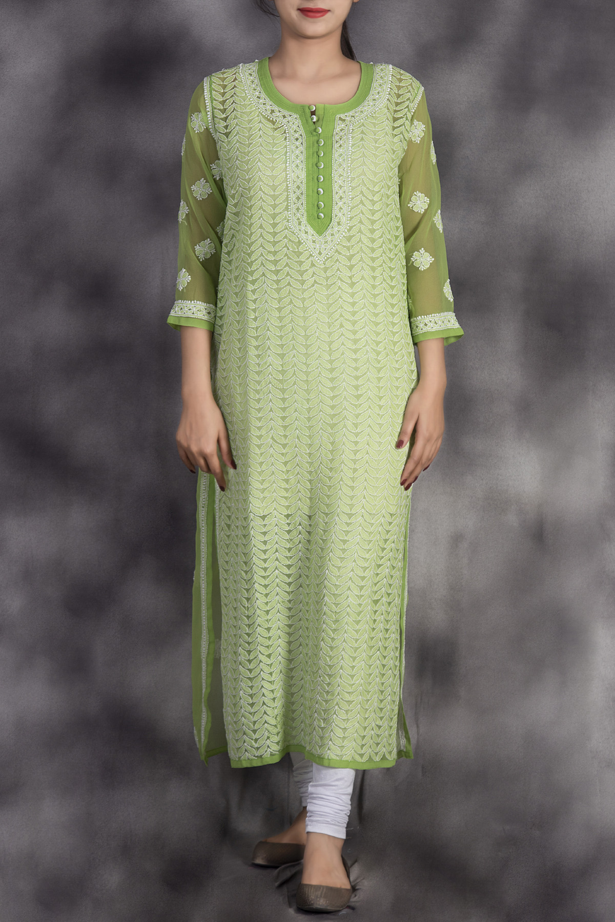 Hand Embroidered Green Lucknowi Chikan Kurti-(Georgette)-GA250644