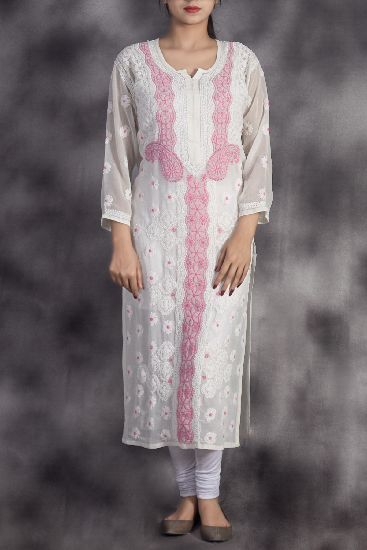 Hand Embroidered White Pink Lucknowi Chikan Kurti-(Georgette)-GA250645