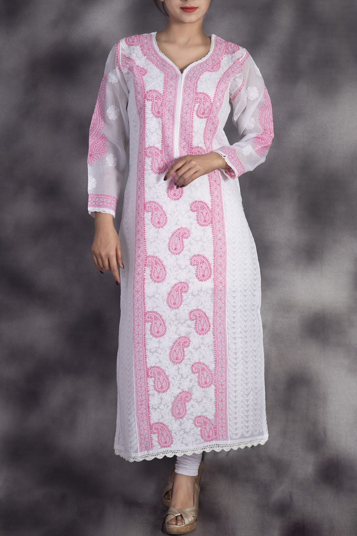 Hand Embroidered White Pink Lucknowi Chikan Kurti-(Cotton)-GA250646