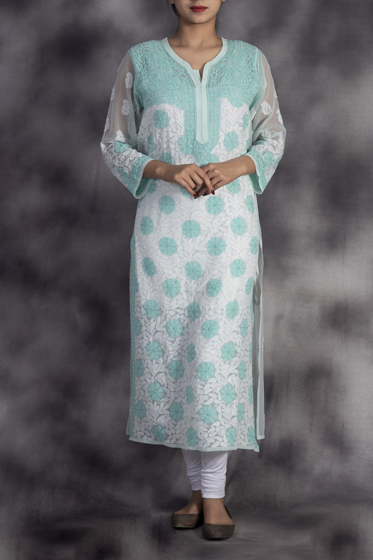 Hand Embroidered Seagreen Lucknowi Chikan Kurti-(Georgette)-GA250647