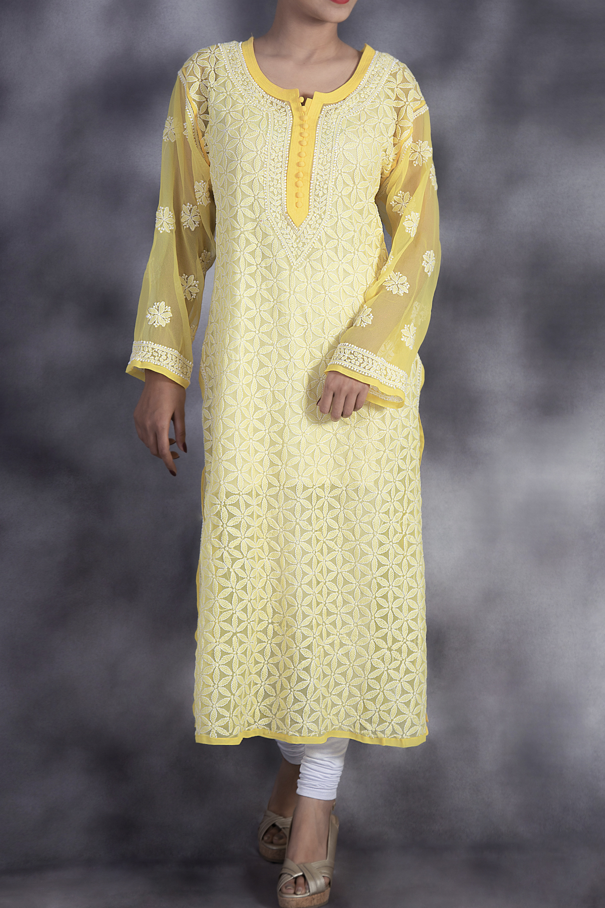 Hand Embroidered Yellow Lucknowi Chikan Kurti-(Georgette)-GA250648