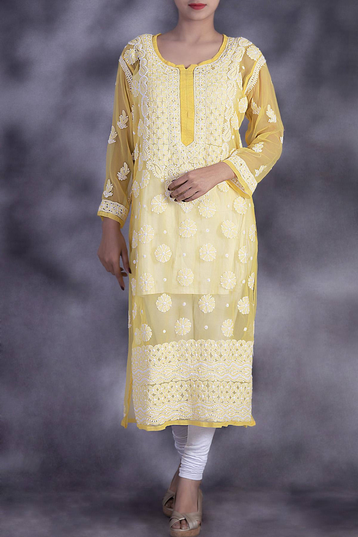 Hand Embroidered Yellow Lucknowi Chikan Kurti-(Georgette)-GA250649