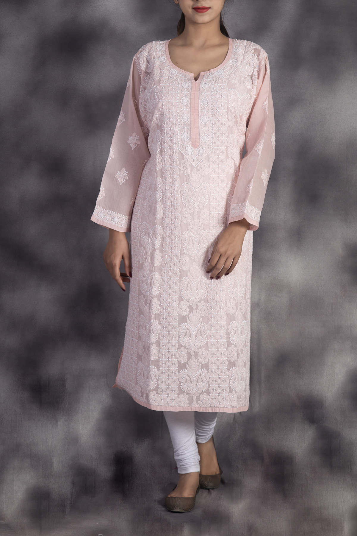 Hand Embroidered Light Pink Lucknowi Chikan Kurti-(Cotton)-GA250652