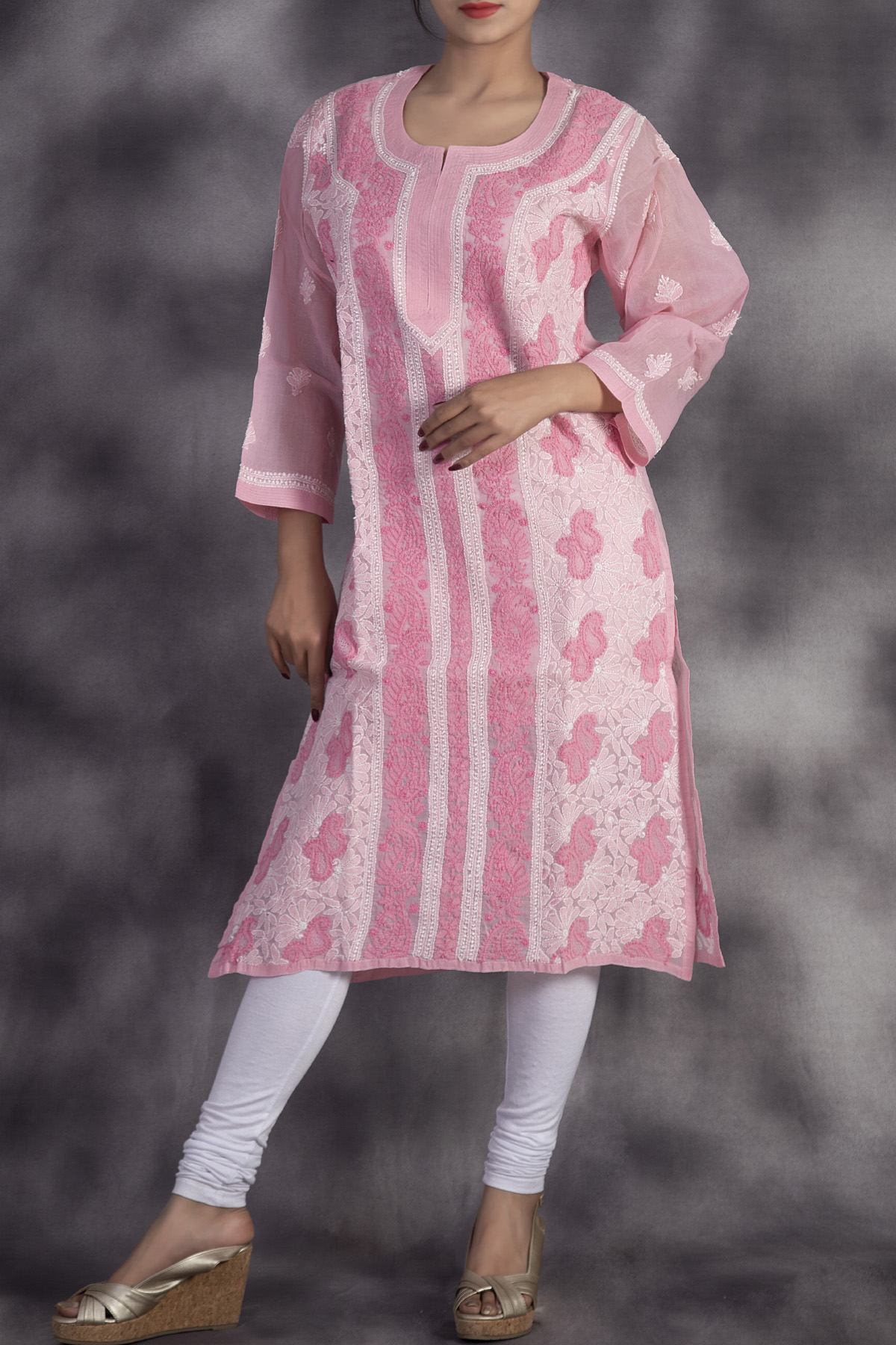 Hand Embroidered Pink Lucknowi Chikan Kurti-(Cotton)-GA2506453