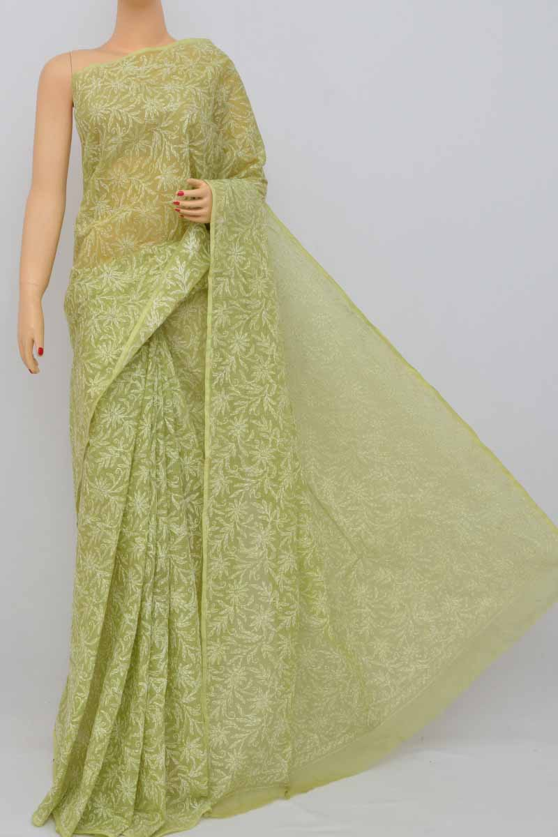 Green Allover Kota Cotton Tepchi Work Hand Embroidered Lucknowi Chikankari Saree (Without Blouse) HS250392