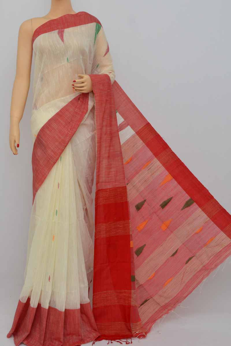 Offwhite-red Border Bengal Handloom  Saree (with Blouse-cotton) - My250393