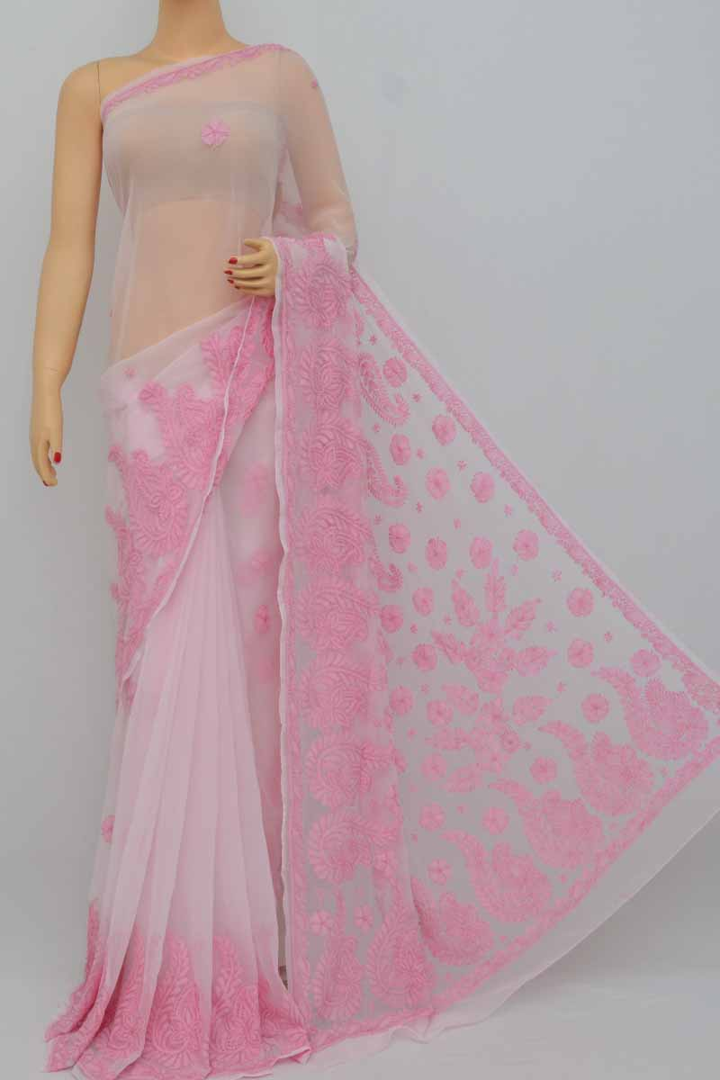 Pink Color Hand Embroidered Lucknowi Resham Work Chikankari Saree (with Blouse - Georgette) Kc250395