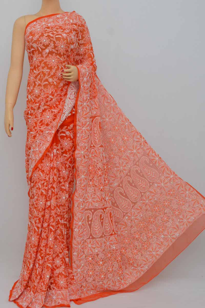 Orange Color Allover Jaal Heavy Palla Hand Embroidered Lucknowi Chikankari Saree (With Blouse - Georgette) KC250396