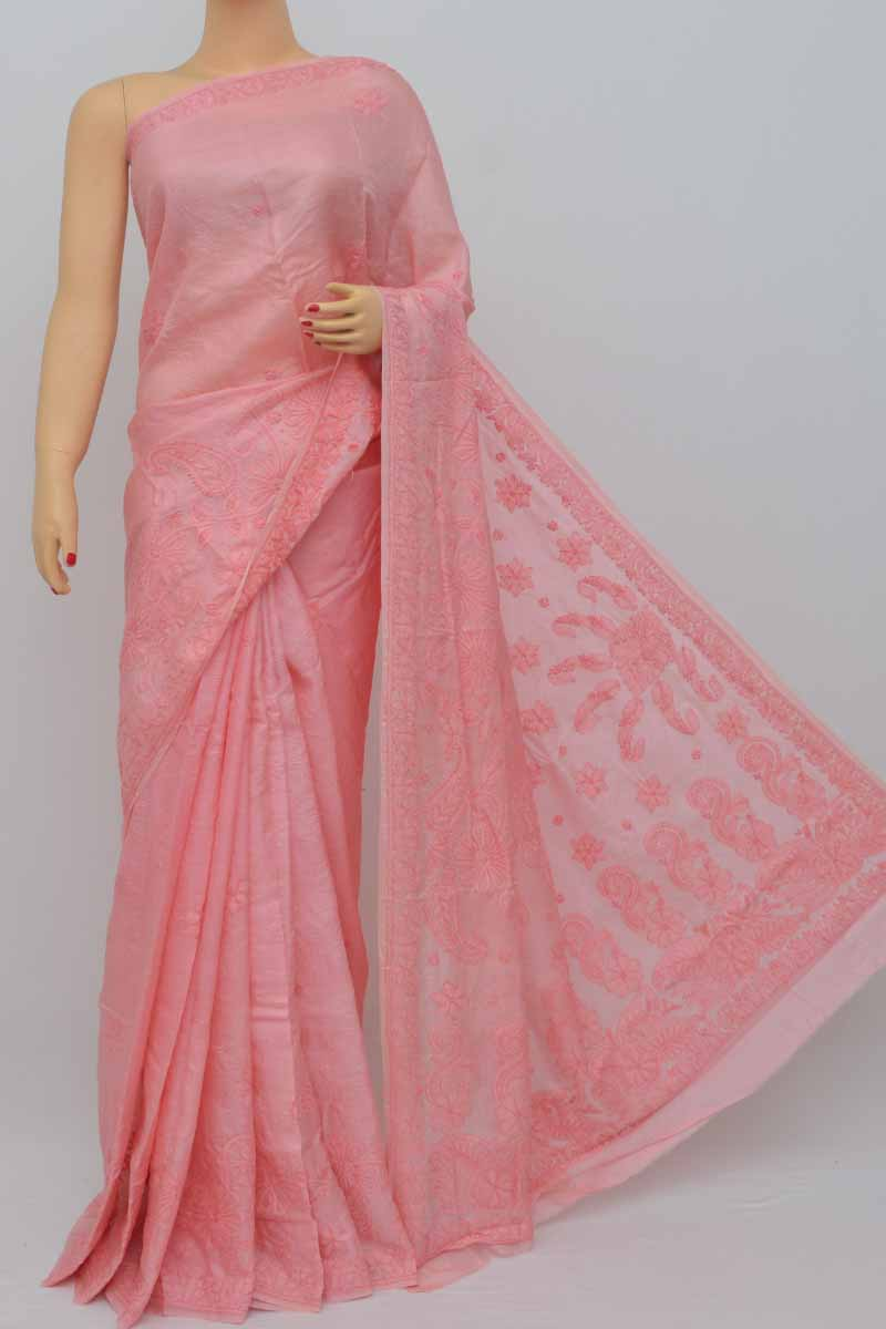 Peach Color Tusser Silk Lucknowi Chikankari Saree (With Blouse) HS250442