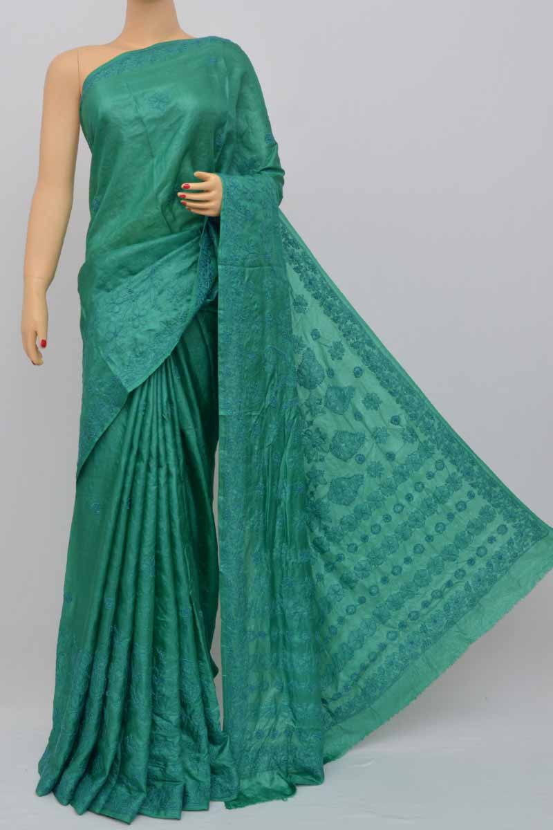 Darkgreen Color Tusser Silk Lucknowi Chikankari Saree (With Blouse) SS250443