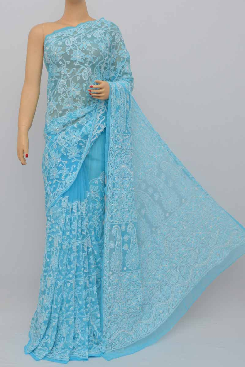 Blue Color Allover Heavy Palla Hand Embroidered Lucknowi Chikankari Saree (With Blouse - Georgette) HS250435