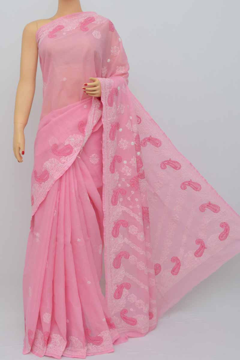 Pink Color Hand Embroidered Lucknowi Chikankari Saree (With Blouse - Cotton) MC250436