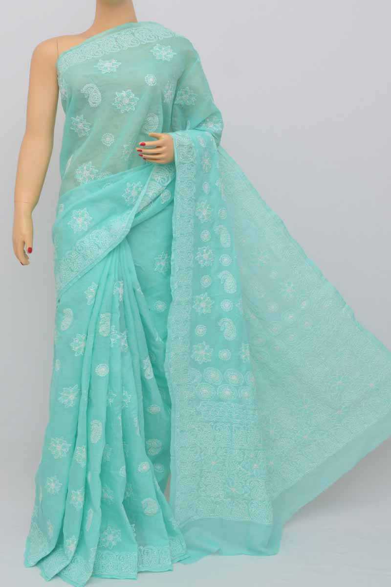 Seagreen Color Hand Embroidered Lucknowi Chikankari Saree (with Blouse - Cotton) Hs250439
