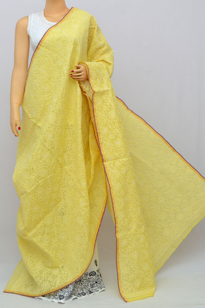 Yellow Allover Hand Embroidered Lucknowi Chikankari Dupatta (Chnaderi Cotton) HS250261