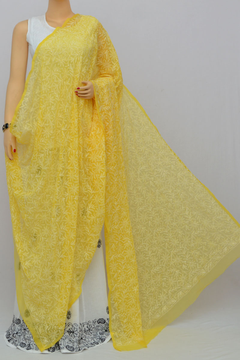 Yellow Allover Hand Embroidered Lucknowi Chikankari Dupatta (Georgette) HS250262