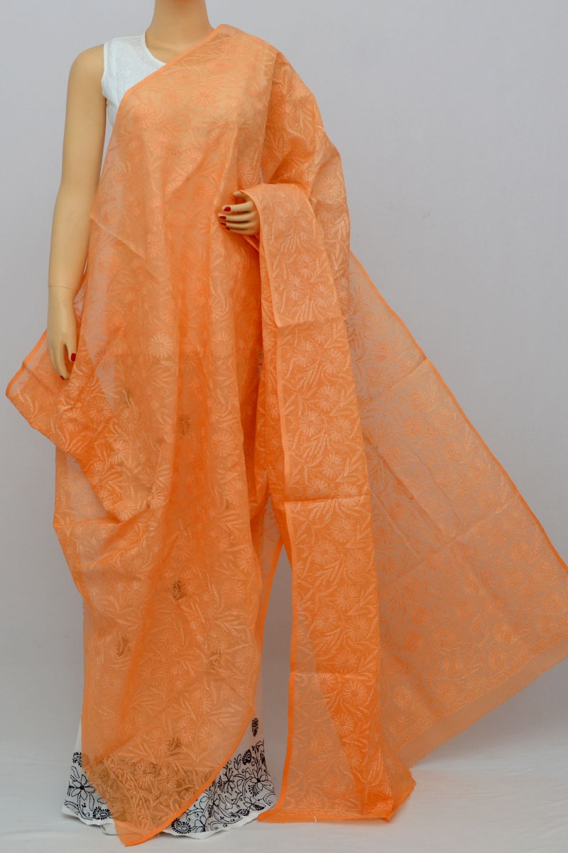 Orange Allover Tepchi Hand Embroidered Lucknowi Chikankari Shaded Dupatta (Kota Cotton) MY250252