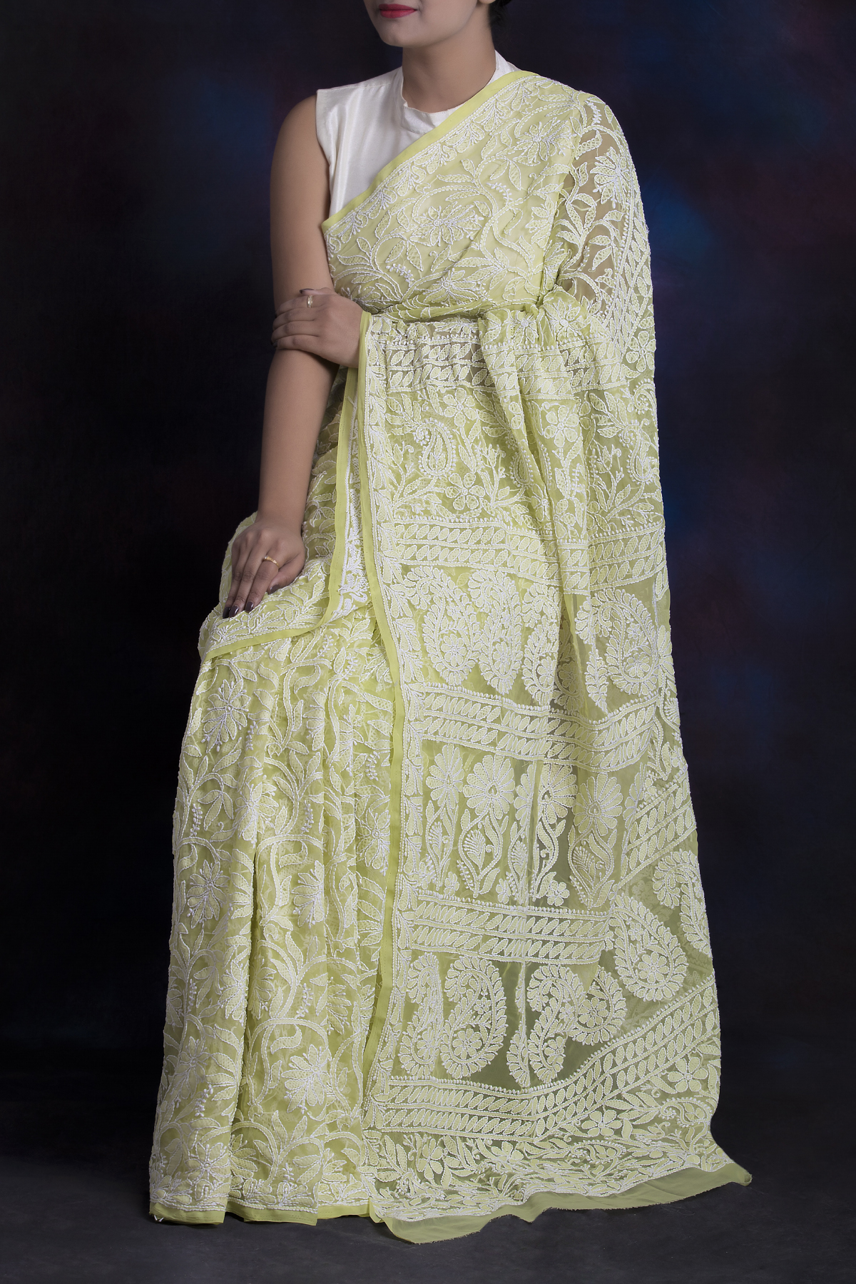 Green Color Allover Hand Embroidered Lucknowi Chikankari Saree (With Blouse - Georgette) SM250578