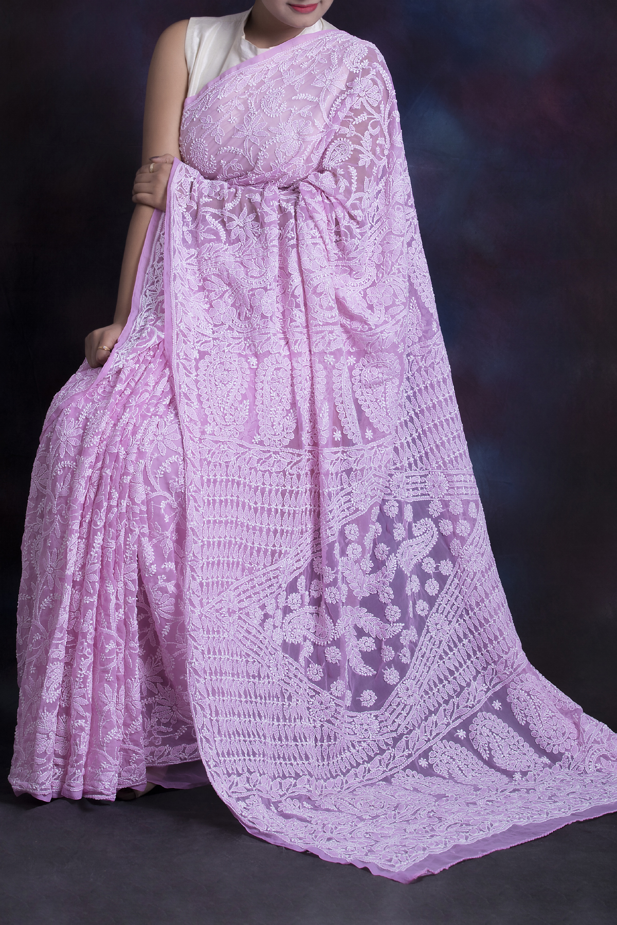 Pink Color, Allover Heavy Palla Hand Embroidered Lucknowi Chikankari Saree (With Blouse - Georgette) HS250576