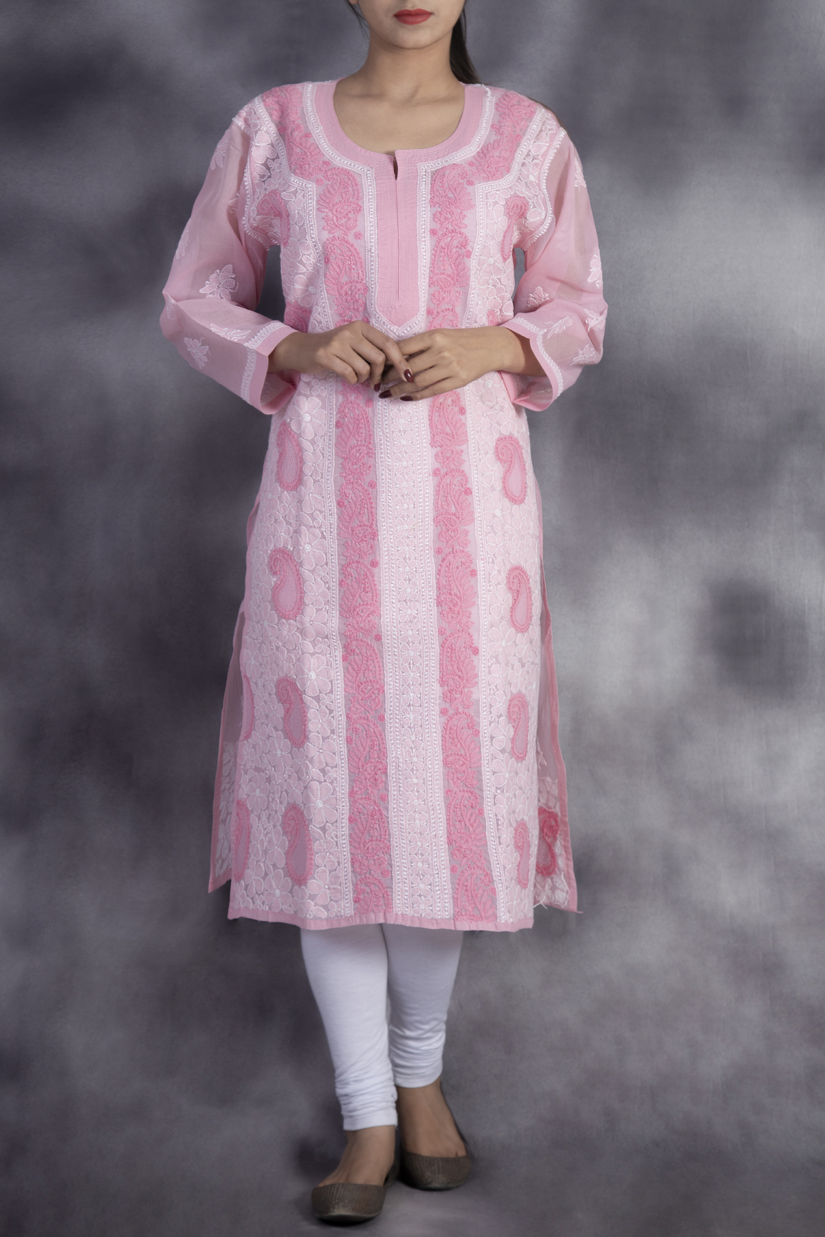 Hand Embroidered  Pink Lucknowi Chikan Kurti-(Cotton)-GA250658
