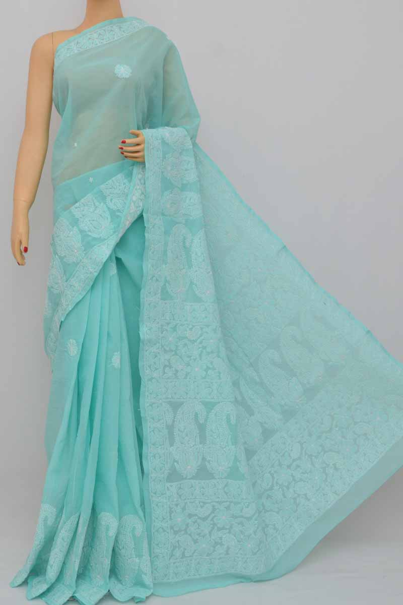 Sea Green Color Hand Embroidered Lucknowi Chikankari Saree (With Blouse - Cotton) SS250400