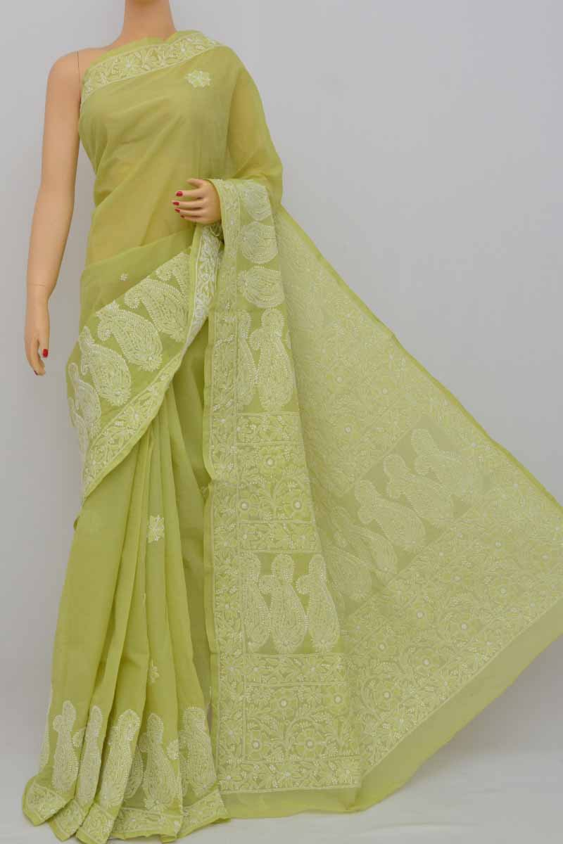 Olivegreen Color Hand Embroidered Designer Lucknowi Chikankari Saree (With Blouse - Cotton) KC250401