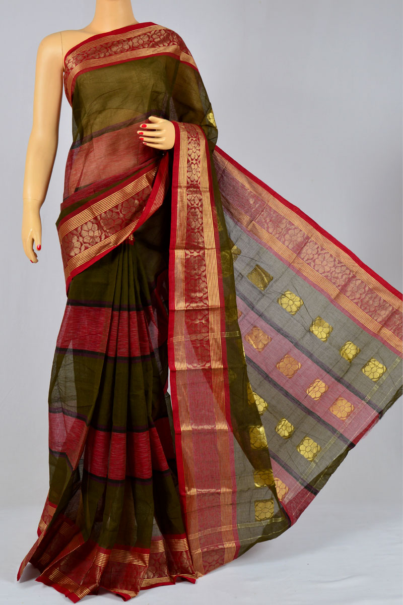 Juniper Color Handwoven Bengal Handloom Cotton Tant Saree (without Blouse) - KC250156