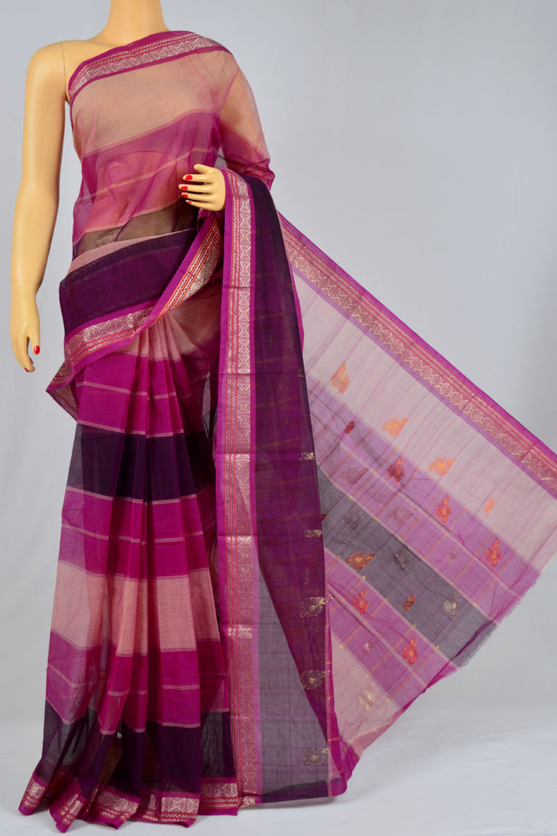 Magenta Color Handwoven Bengal Handloom Cotton Tant Saree (without Blouse) - KC250157
