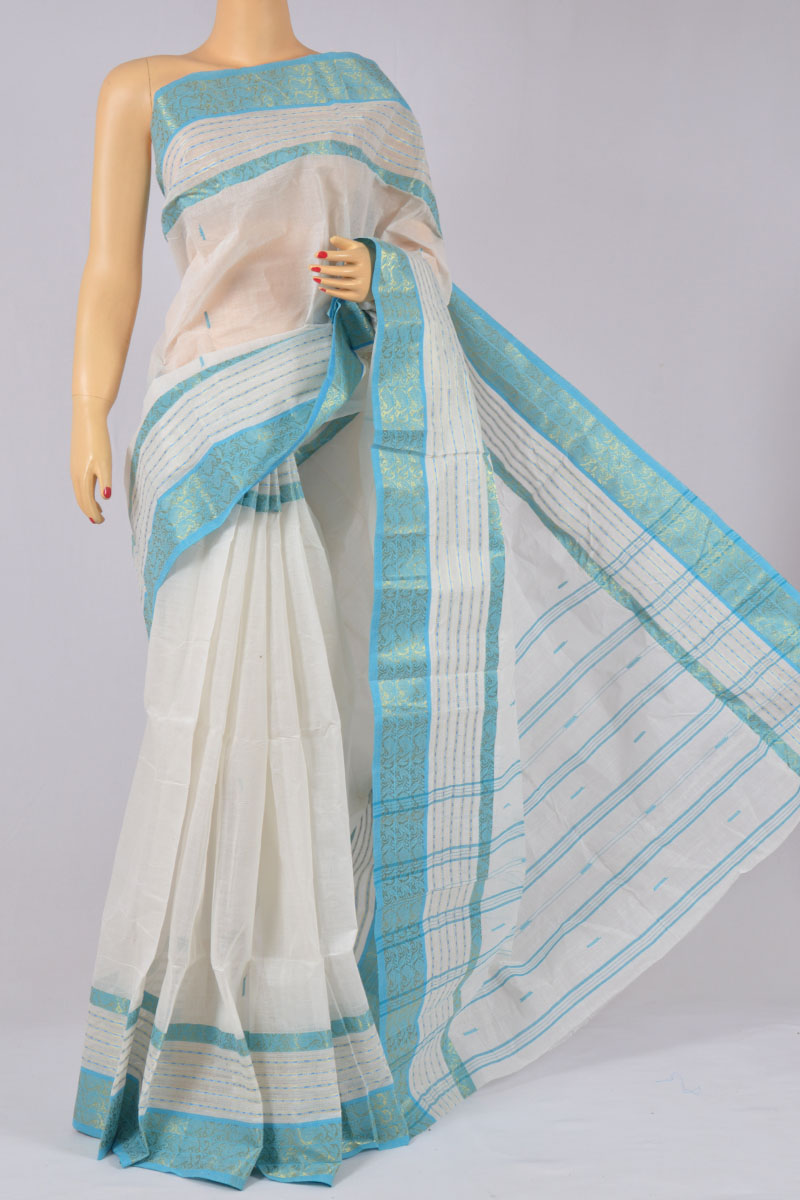 White Color Bengal  Handloom Handwoven Pure Cotton Saree (without Blouse) - KC250159