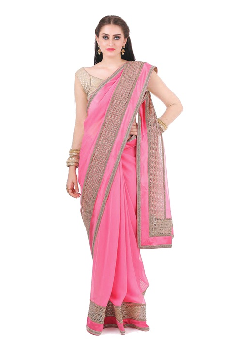 Plain Pink Saree with Patch Border