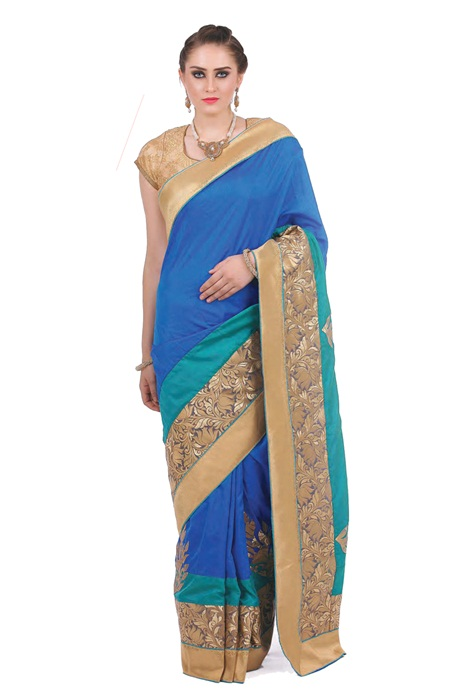 Special Party Wear Saree Shaded Silk Resham Embroidery In Blue with Golden Saree
