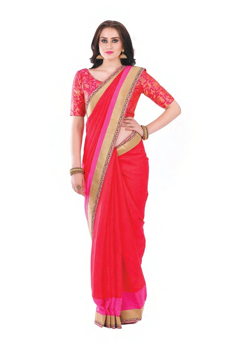 Zari Border Royal Tomato Red Saree With Zari  Vorder And A Small Line Weaved With Red And Pink