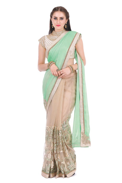 Light Green And Beige Shade With Patch Zari Border And Patch Work On Saree