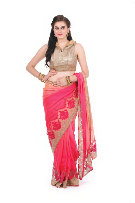 Pink Saree With Matka Embroidered Border