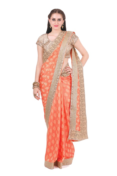 Printed Silk Saree With Zaree Patch Work Border