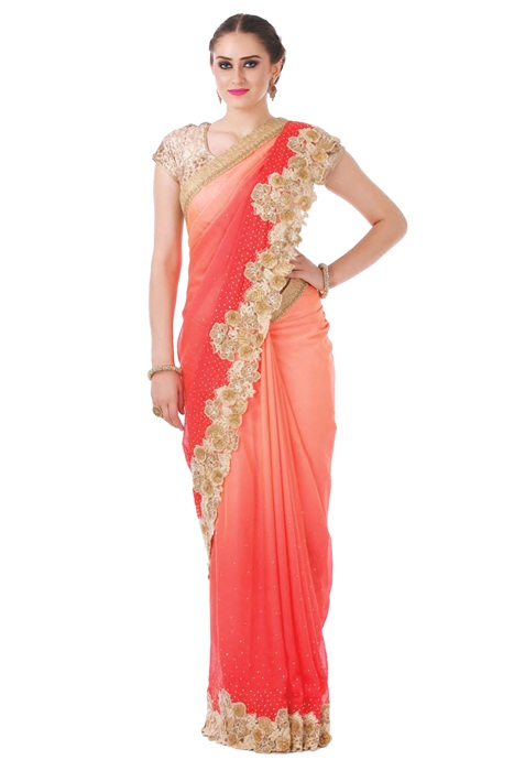 Crazy Cutwork patch border work Saree In shaded Peach Red