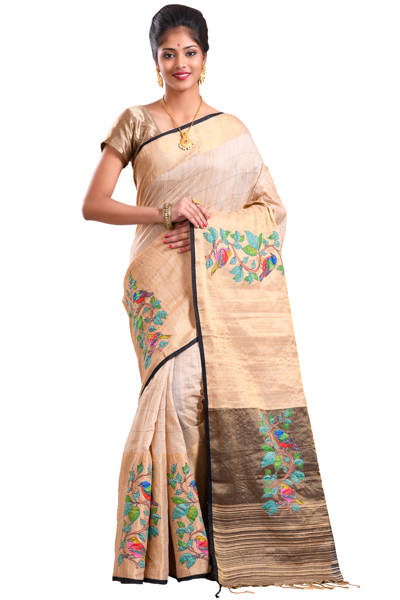 Beige Color Stone Highlighted Patch Work With Golden Fancy Border Chanderi Saree