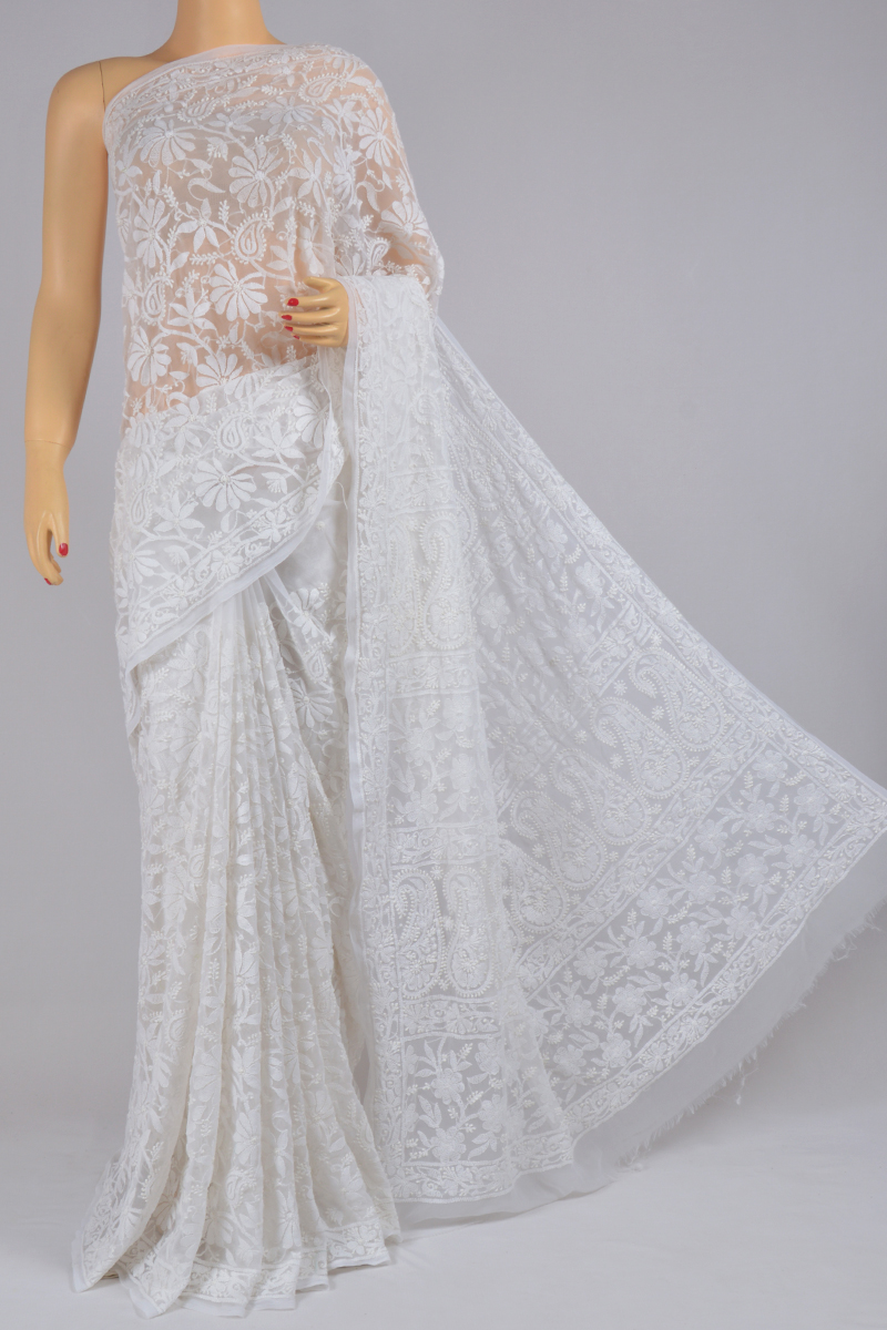 Salt Color Hand Embroidered Allover Jaal Lucknowi Chikankari Saree (With Blouse - Georgette) SS250222