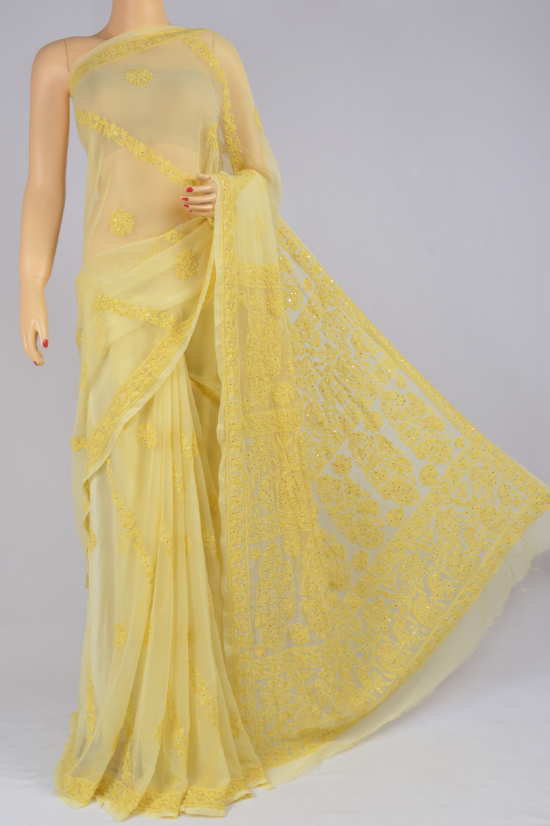 Blonde Color Hand Embroidered Mukaish Work Full Chhadi Lucknowi Chikankari Saree (With Blouse - Georgette) SS250223