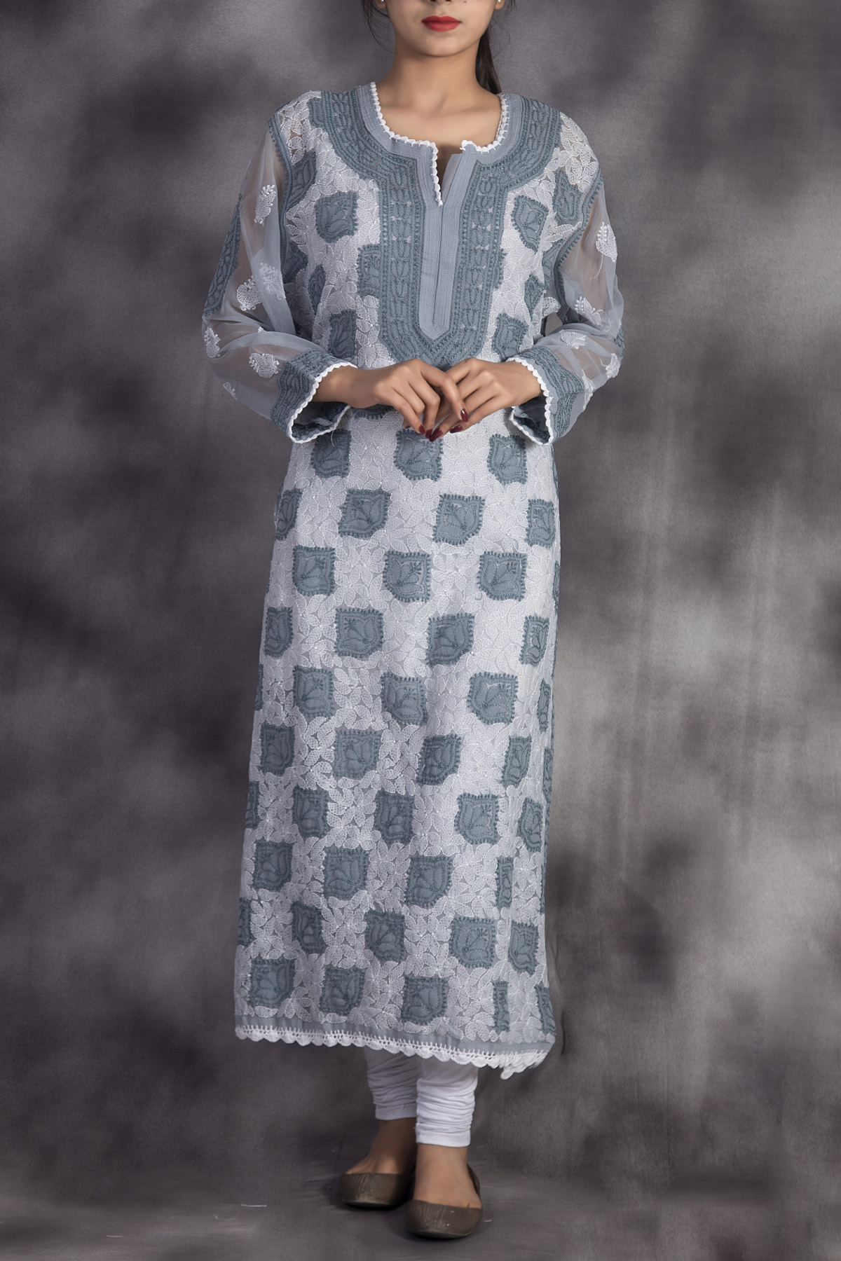 Beautiful Hand Embroidered Grey Lucknowi Chikankari Kurti-(Georgette)-GA250659