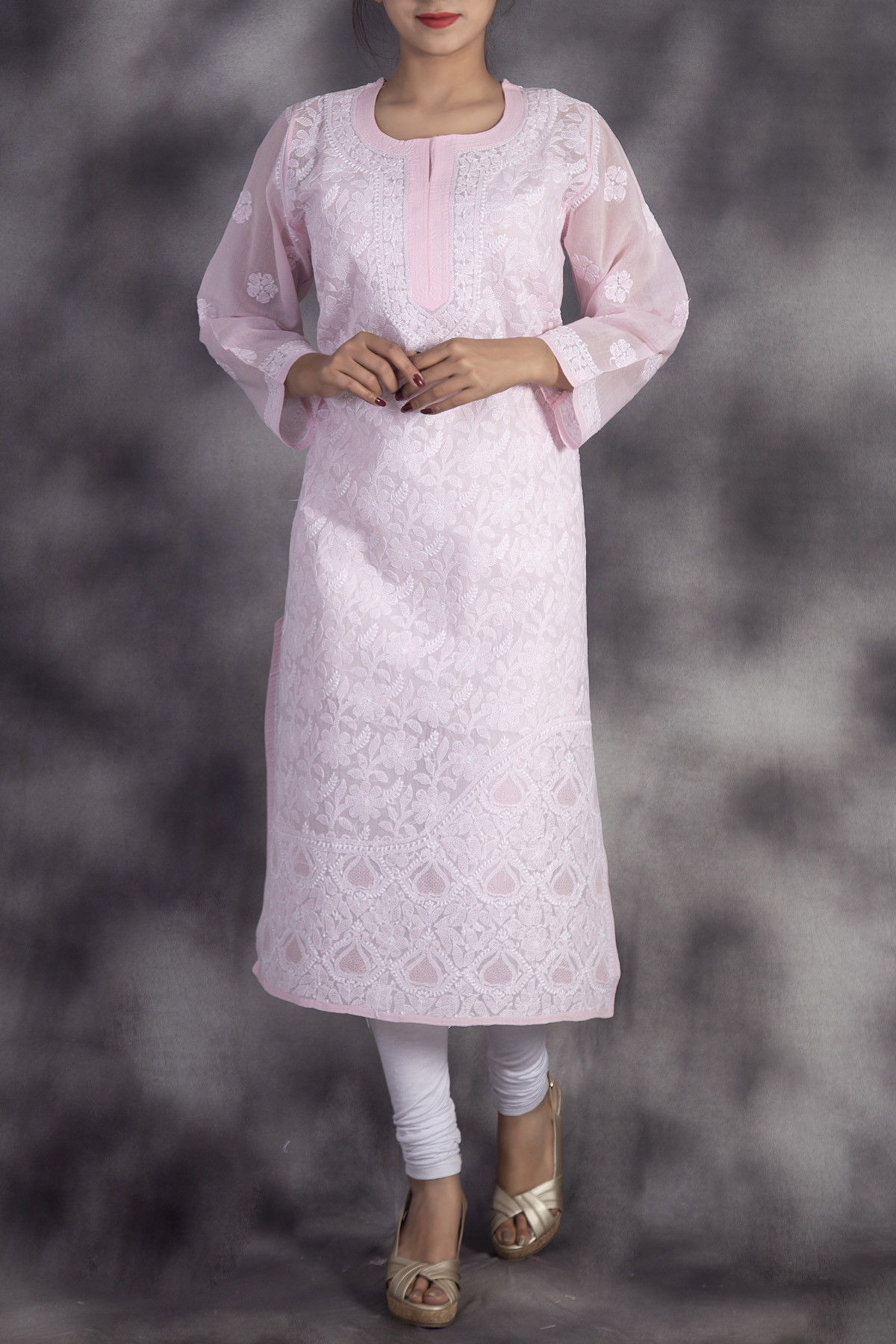 Hand Embroidered Pink Lucknowi Chikankari Kurti-(cotton)-ga250660