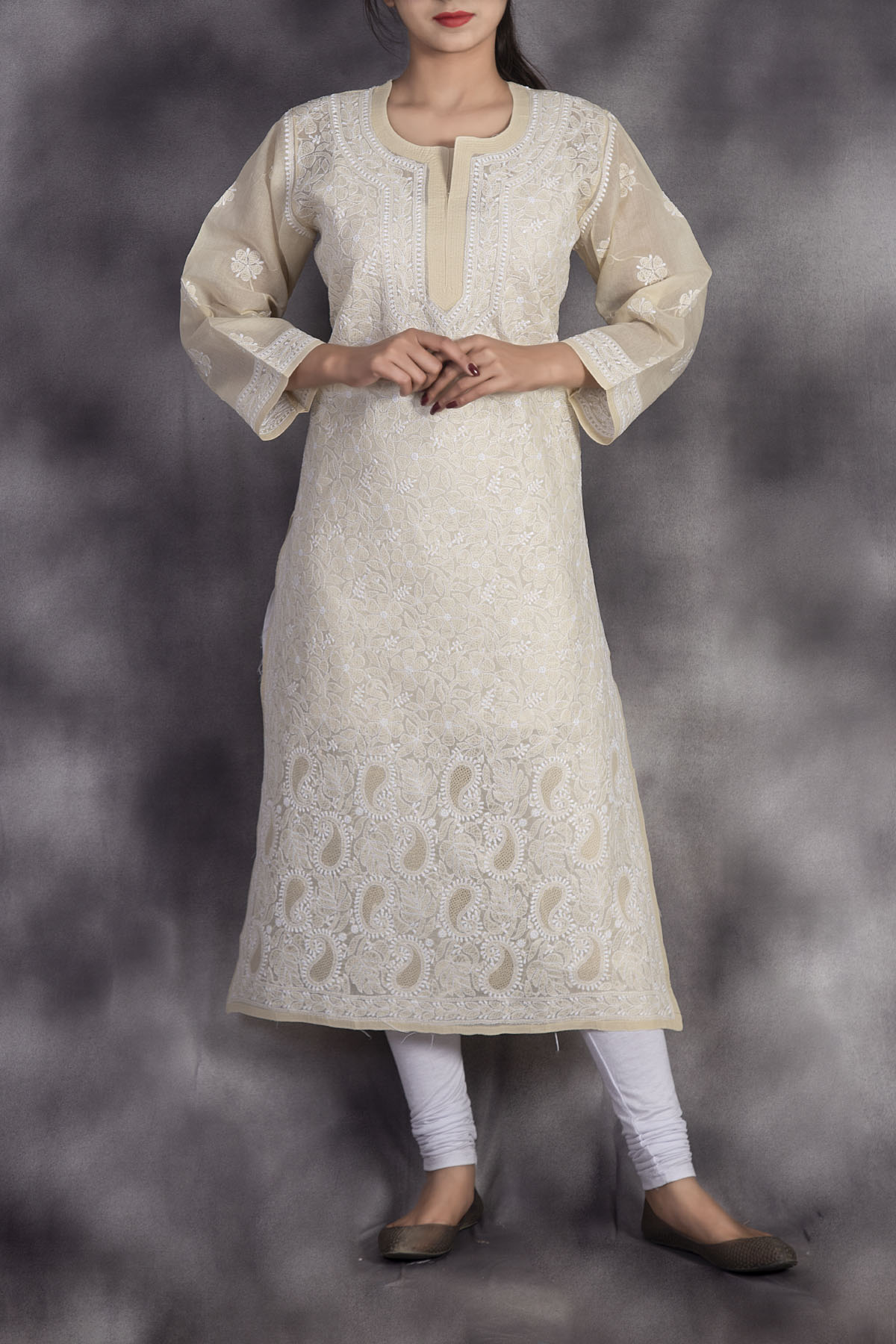 Hand Embroidered Fawn Lucknowi Chikankari Kurti-(Cotton)-GA250661