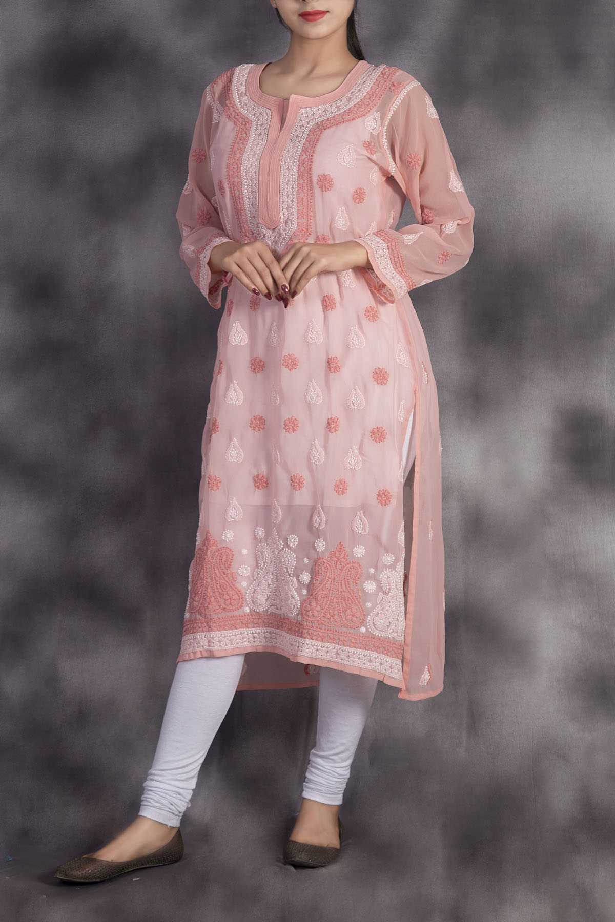 Hand Embroidered Peach Lucknowi Chikankari Kurti-(georgette)-ga250662