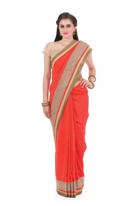 Saffron Saree  With Zari Matka Border Patch Work