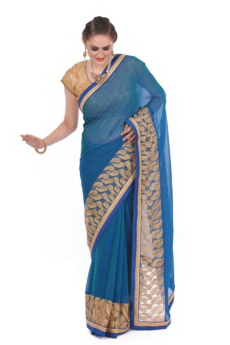 Golden Leaf  Embroidery On  Plain Blue  Saree