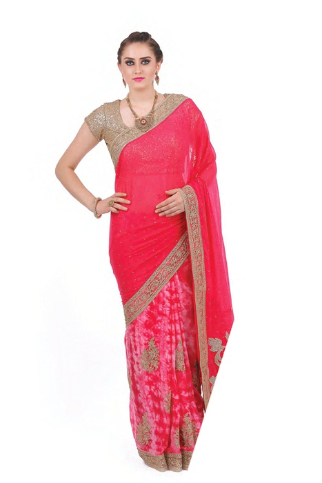 Half Printed And Half Plain And Border Patch On Saree